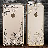 iPhone 6/6s Crystal TPU Cover-Aurora Fashion Transparent Hard PC + TPU Graden Flower Case with Original Swarovski Element for iPhone 6/6s 4.7 Inch(Gold+White)