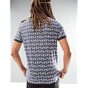 Rebel Canyon Young Men's Short Sleeve Printed Ringer T-Shirt Top X-Large Blue Shadow
