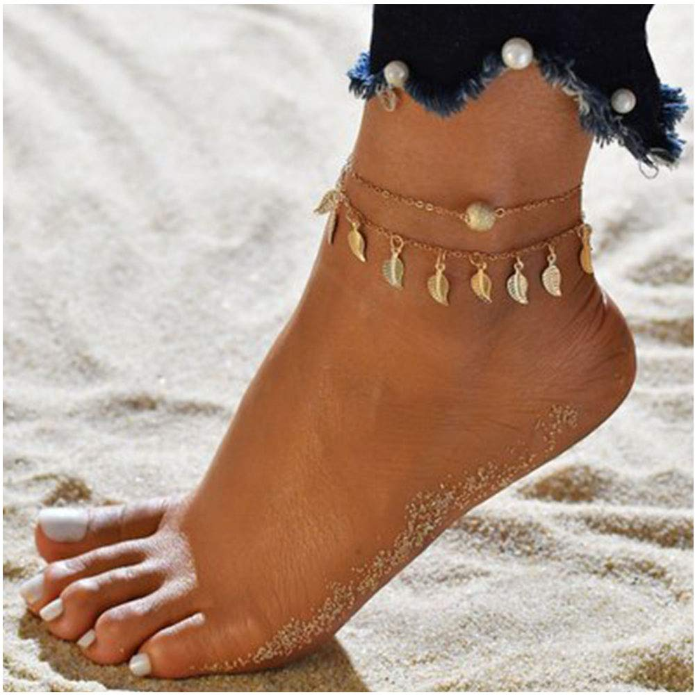 Summer Beach Double Leaves Pendant Anklet Foot Chain Bohemian Handmade Beads Anklet Foot Gothic MINGHUA