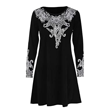 diandianshop Women Tops Stylish O-Neck Long Sleeves Floral Printed Plus  Size Tops Loose Blouse 2fd0ee407a4