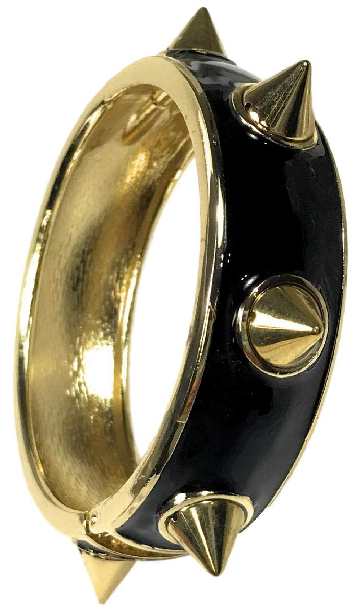 Dave's Collections Studded Steampunk Goth Statement Gold Black Enamel Cuff Hinged Bangle Bracelet