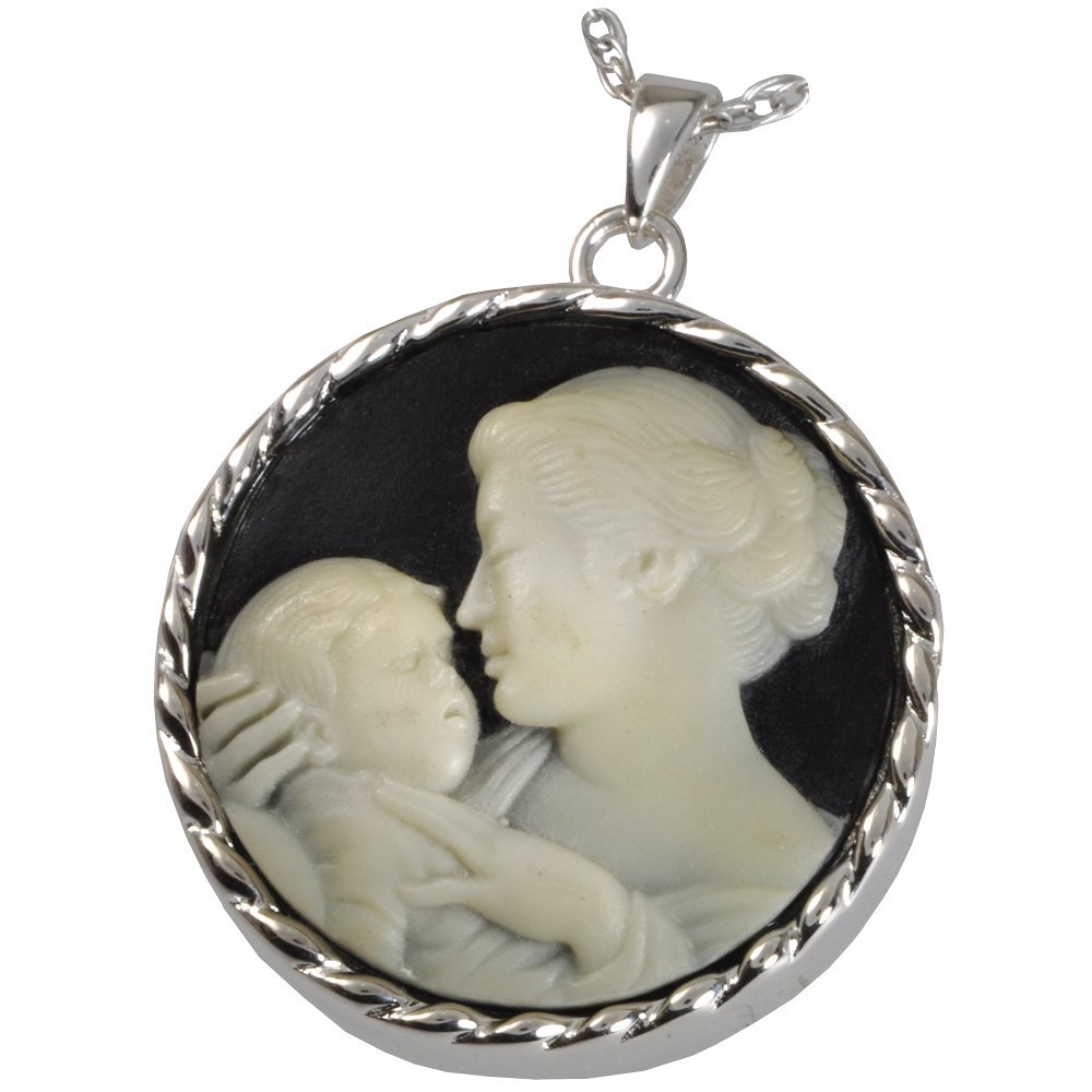 Memorial Gallery MG-3515S Mother's Embrace Cameo Sterling Silver Cremation Pet Jewelry, Black by Memorial Gallery