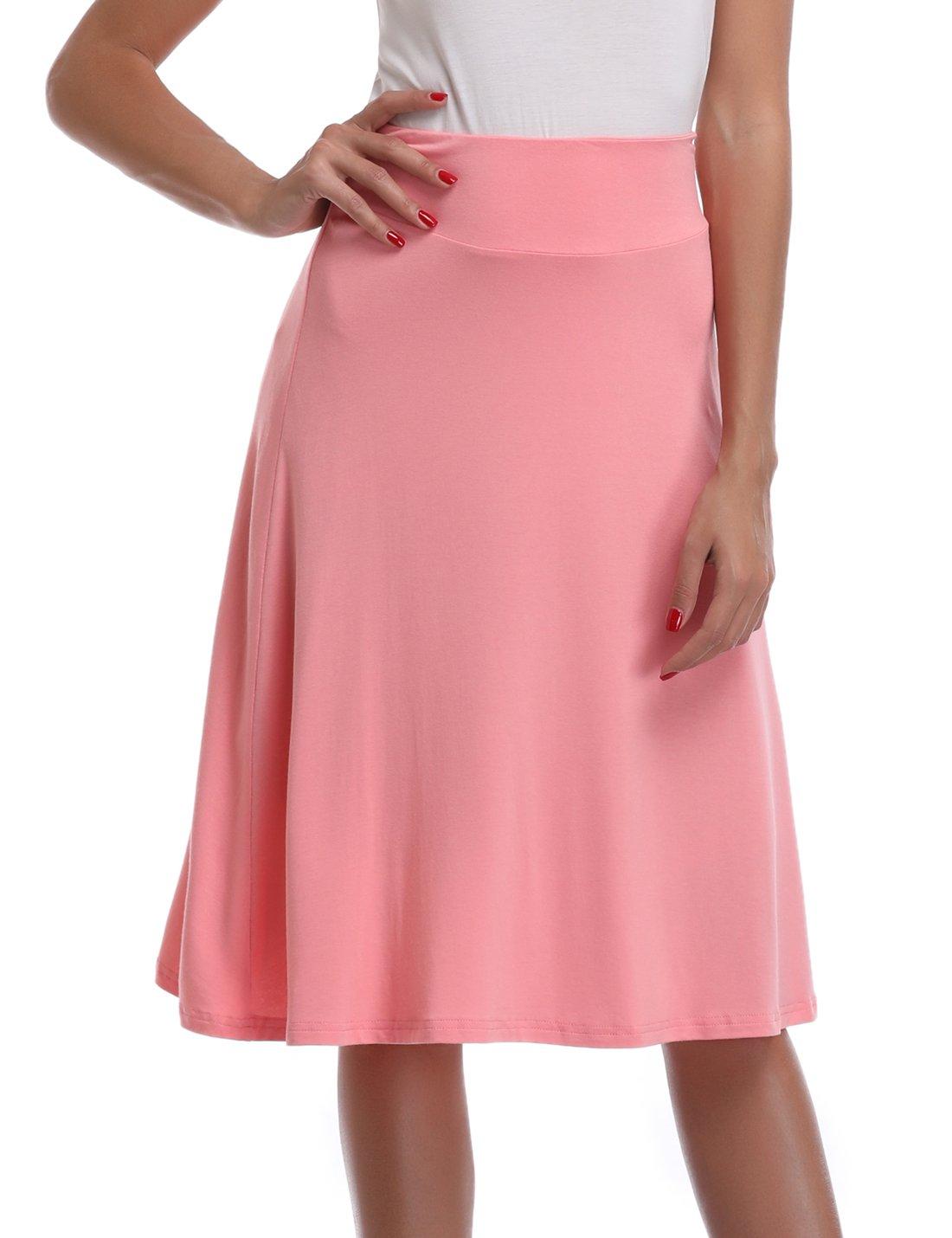 MISS MOLY Women's Pleated Flared Skater Knit Mid Calf Skirt High Waist A-line Midi Skirt