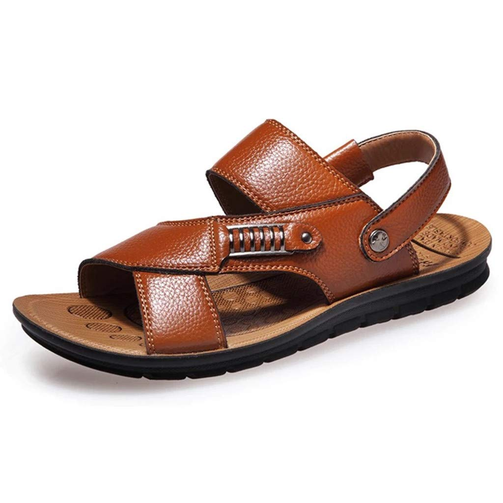 2019 Slides Outdoor Shoes Fashion Slippers Mens Breathable Leather Beach Sandals