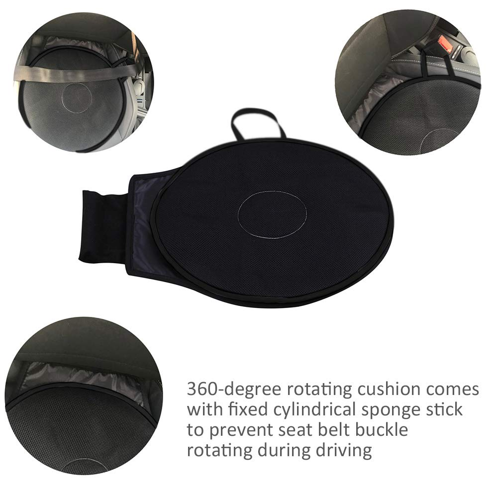 KATURN Rotation 360/° Memory Sponge Rotating Car Seat Car Cushion Breathable Cover Fixed Base Home Office Car Seat Swivel Cushion Black