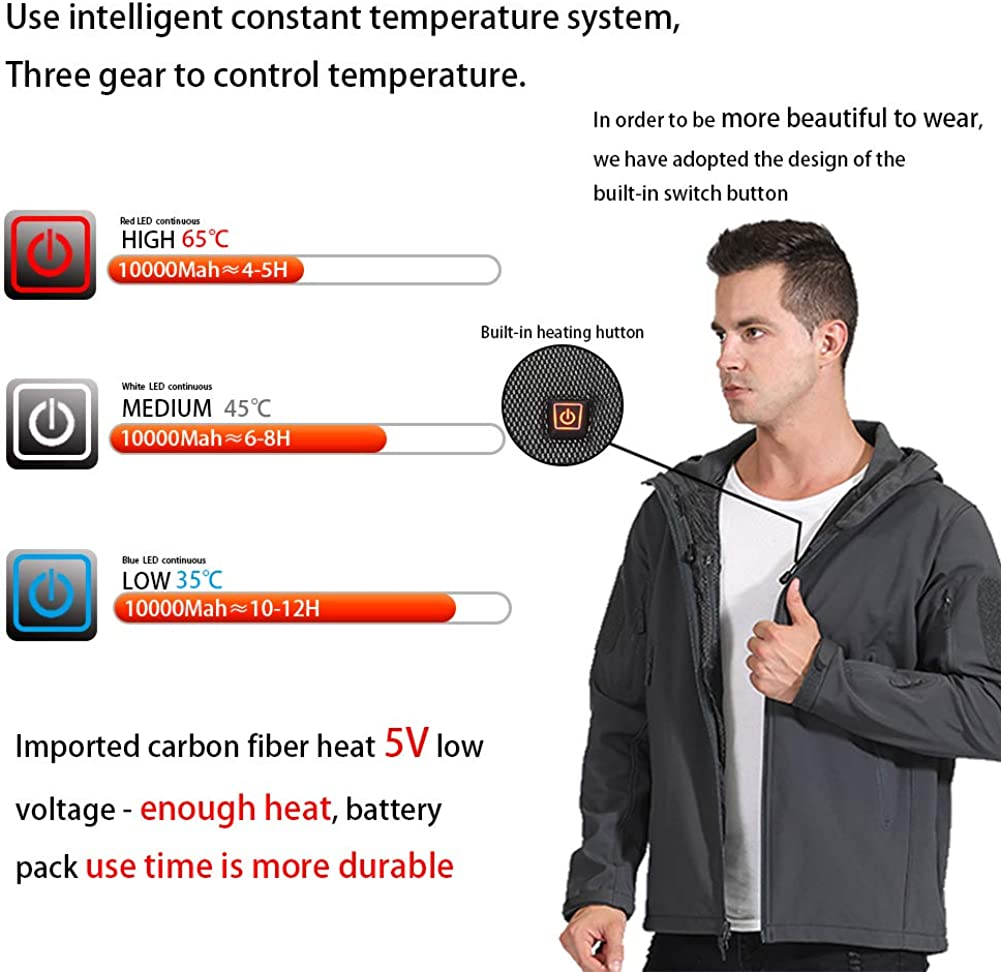 UTUZHE Mens Workwear Electric Heated Vest with USB Charging Heated Clothing Washable Outdoor Cotton Vest