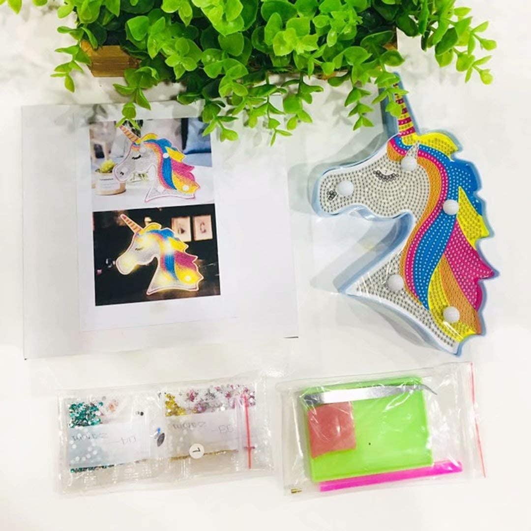 qiaoniuniu Diamond Painting for Kids Mosaic Making Night Light Unicorn Lamp for Children