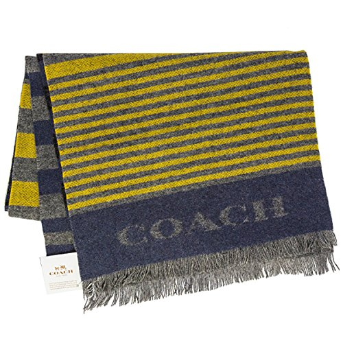 - coach mens cashmere blend vertical striped scarf (yellow/greyblue)
