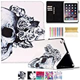 iPad Mini Case,UUcovers Synthetic Leather Smart Stand Case [Card Holder] with Auto Sleep/Wake Flip Folio Wallet Case Cover for iPad Mini 3/2/1 [Free Cleaning Cloth,Stylus Pen] (Skull)