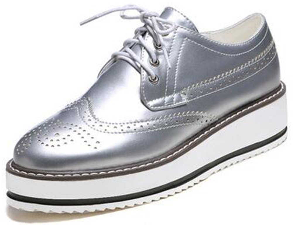 Summerwhisper Women's Trendy Round Toe Low Top Brogues Pumps Lace-up Platform Oxfords Shoes Silver 10 B(M) US