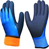 Waterproof Thermal Work Gloves, Double Coating Superior Grip Comfortable for Cold Weather Outdoor Garden Construction…