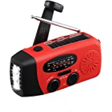 MECO Emergency Radio Solar Hand Crank Dynoma Weather Radio AM/FM/WB NOAA Radio with LED Flashlight, Phone Charger and 1000mAh Power Bank for Camping Hiking Ourdoor Survival, with Cable and USB Jacks