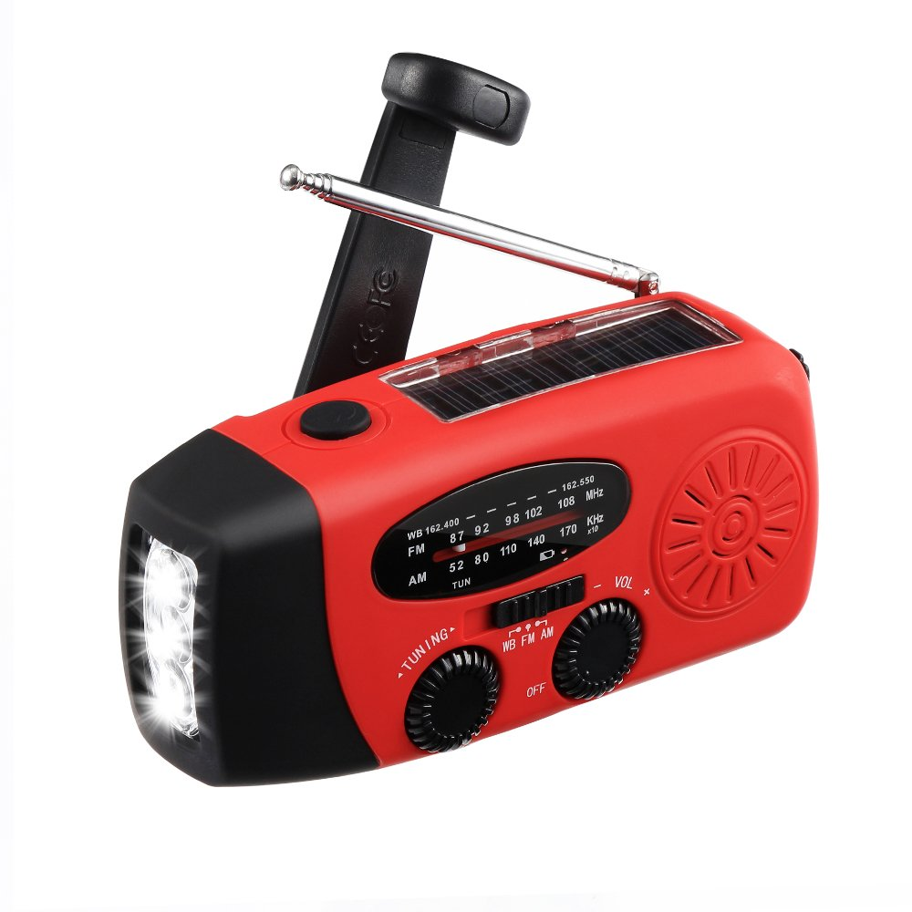 Emergency Radio MECO Solar Hand Crank Dynamo Weather Radio AM/FM/WB NOAA Radio with LED Flashlight, Phone Charger and 1000mAh Power Bank for Camping Hiking Outdoor Survival, with Cable & USB Jacks