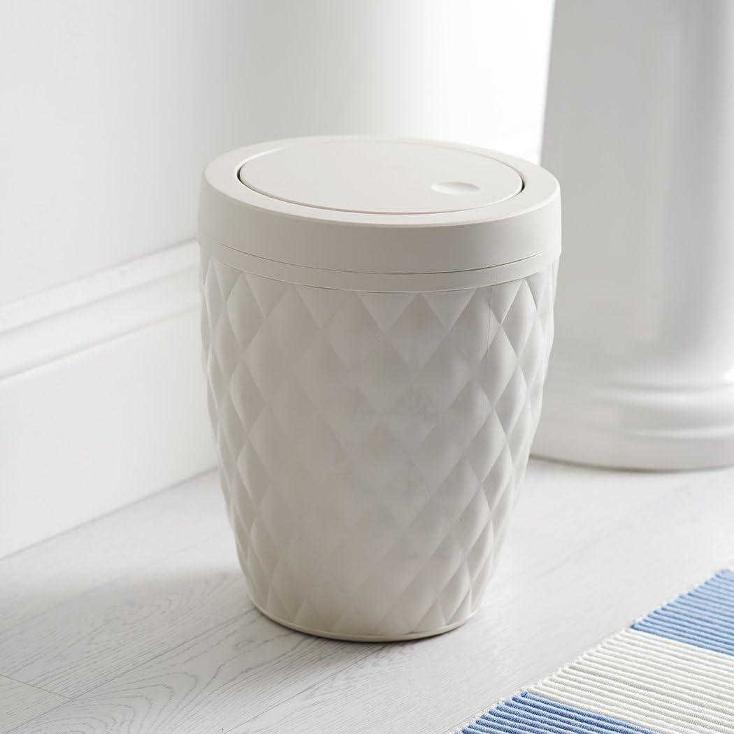 Addis Diamond Style Round Swing Lid Bathroom Bin White