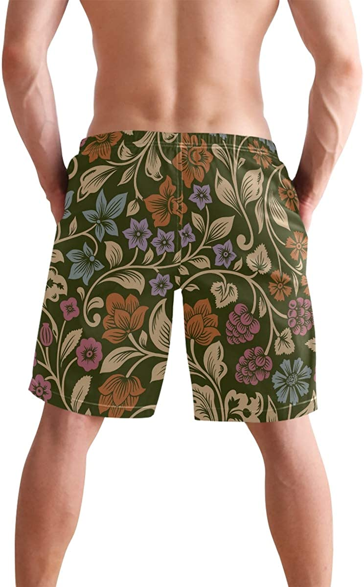 Bright Colorful Flowers Mens Beach Shorts Swim Trunks Stripe Quick Dry Casual Polyester Swim Shorts