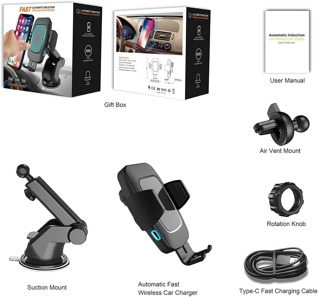 Qi Wireless Car Charger Mount Automatic Clamping Touch Sensor Air Vent Phone Holder Compatible with iPhone11//X//Xs MAX//XS//XR//X//8//8+,Samsung S10//S10+//S9//S9+//S8//S8+