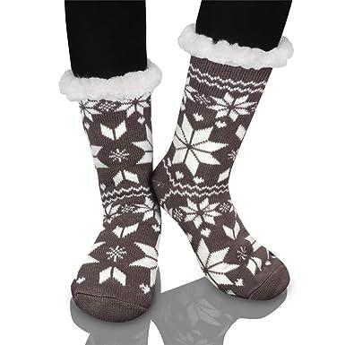 Calcetines de Navidad, Invierno Mujer Gruesos Lana Calcetines Térmicos de Piso Antideslizantes Calcetines de Casa