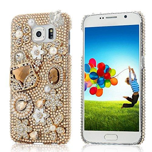 S6 Edge Case,Galaxy S6 Edge Case,EVTECH® 3D Handmade Crystal Rhinestone PU Leather Wallet Type Magnet Design Flip Case for Samsung Galaxy S6 Edge