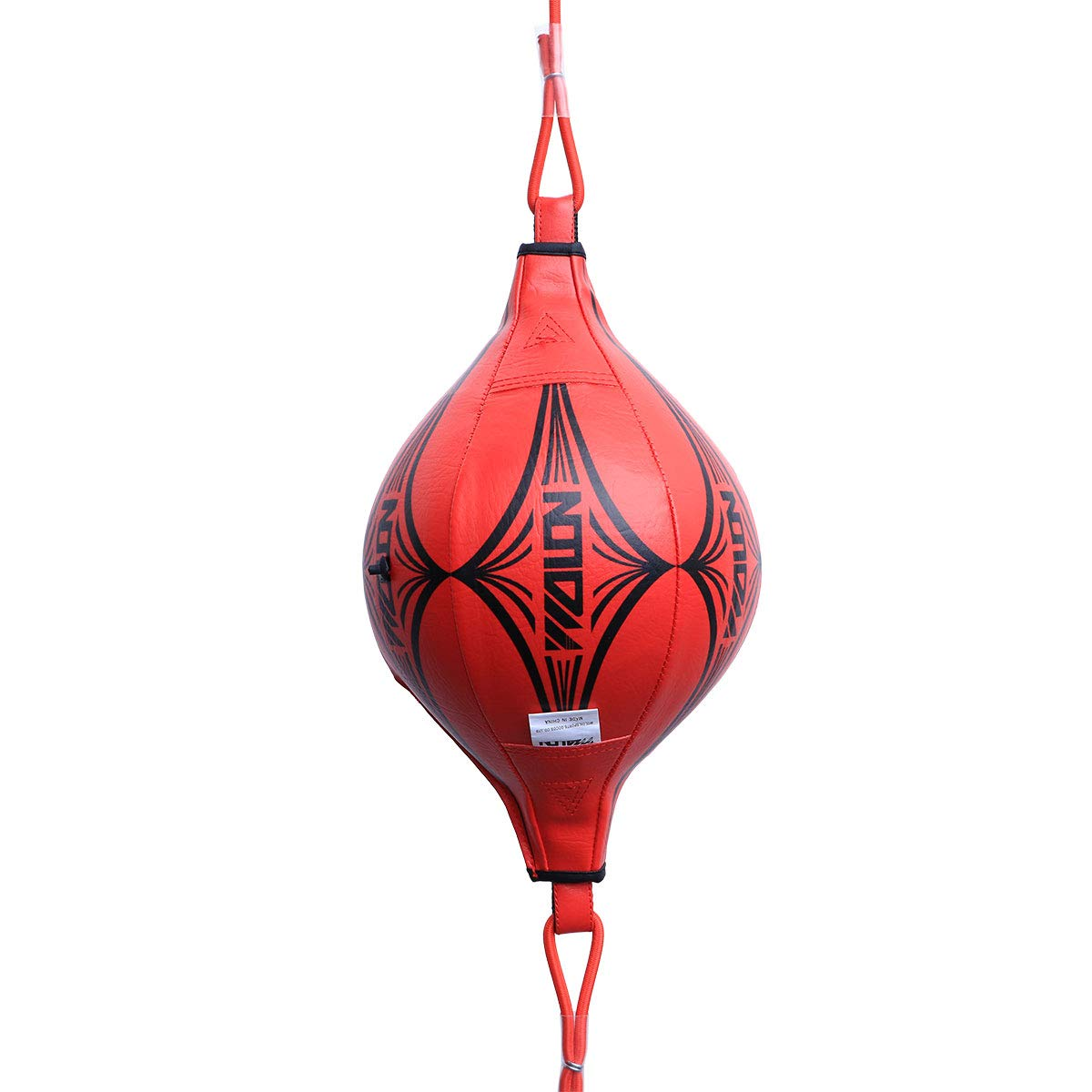 Vosarea Leather Boxing Speed Dodge Ball Double End Punch Bag Floor to Ceiling Rope Training Punching Workout Red