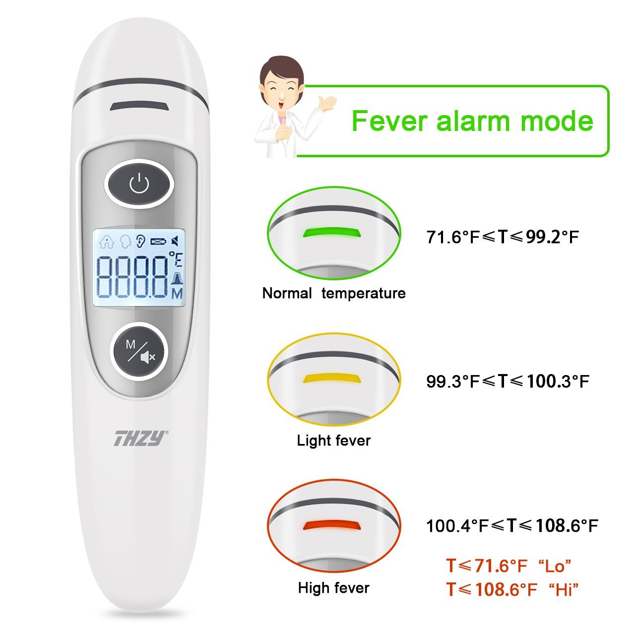 Forehead and Ear Thermometer, THZY Upgraded Digital Infrared Thermometer with Fever Indicator, Dual Mode Body Thermometer Suitable for Baby, Infants, Toddlers and Adult CE&FDA Approved by THZY (Image #5)