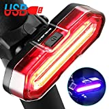 BYBLIGHT Rear Bike Light - USB Rechargeable, 5 Light Modes, Super Bright LED Bicycle tail Light, Powerful Rear Cycle Light, Easy Installation for Any Mountain Road Bike