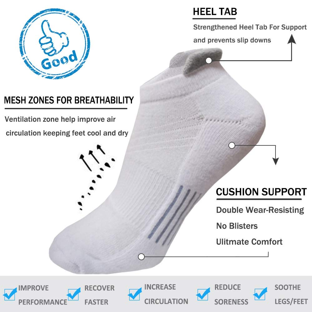 Mens Ankle Athletic Socks 6 Pairs Running Sports Performance Best Comfort Cushioned Low Cut Tab Socks L And XXL