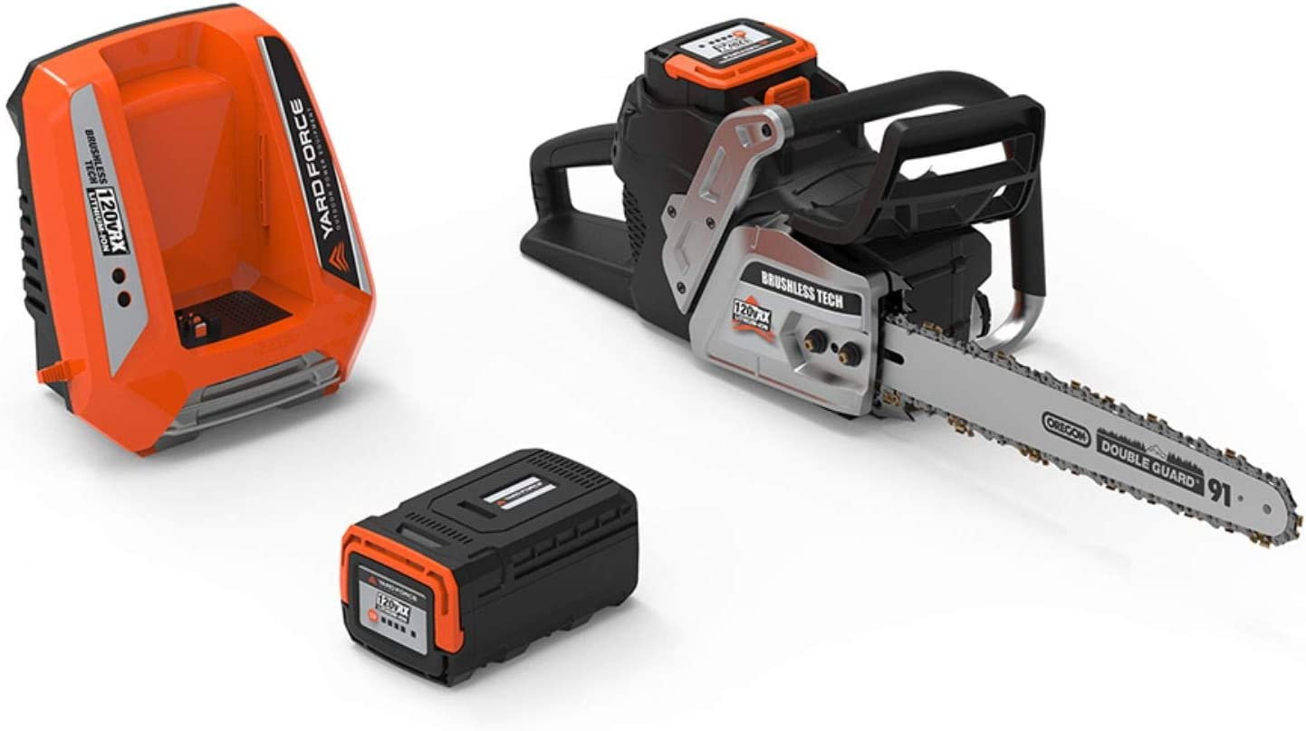 YARD FORCE YF120vRX 120v Lithium-Ion 18 Chainsaw with Oregon Bar and Chain-Complete with Battery and Fast Charger Included