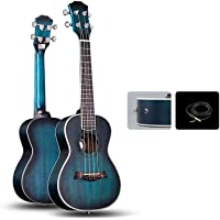 Shengshihuizhong Beginner's Professional 23/26 Inch Ukulele, Mahogany Made Blue, Beautiful Tone, Perfect Partner For Music Creation high quality (Color : Blue-Electric box-26)