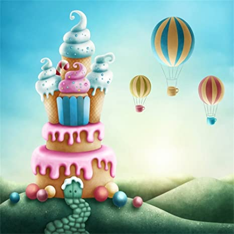 LFEEY 8x8ft Colorful Sweet Land Ice Cream Backdrop for Photos Fantasy Cartoon Candyland Hot Air Balloons