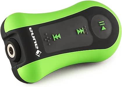 auna Hydro 4 Waterproof MP3 Player, 4 GB Flash Memory, with Clip, Waterproof Headphones with Ear Hooks, Swimming, Surfing, Snowboarding, Underwater Use, Green Black