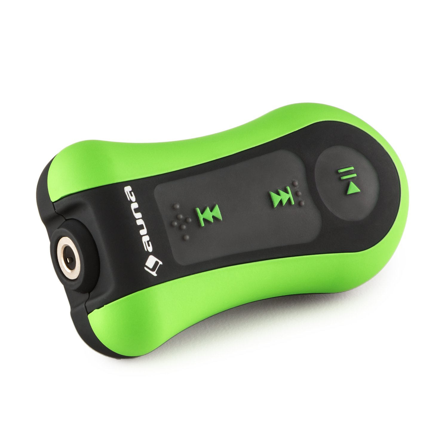 auna Hydro 4 Waterproof MP3 Player • 4 GB Flash Memory • With Clip • Waterproof Headphones with Ear Hooks • Swimming, Surfing, Snowboarding • Underwater Use • Green