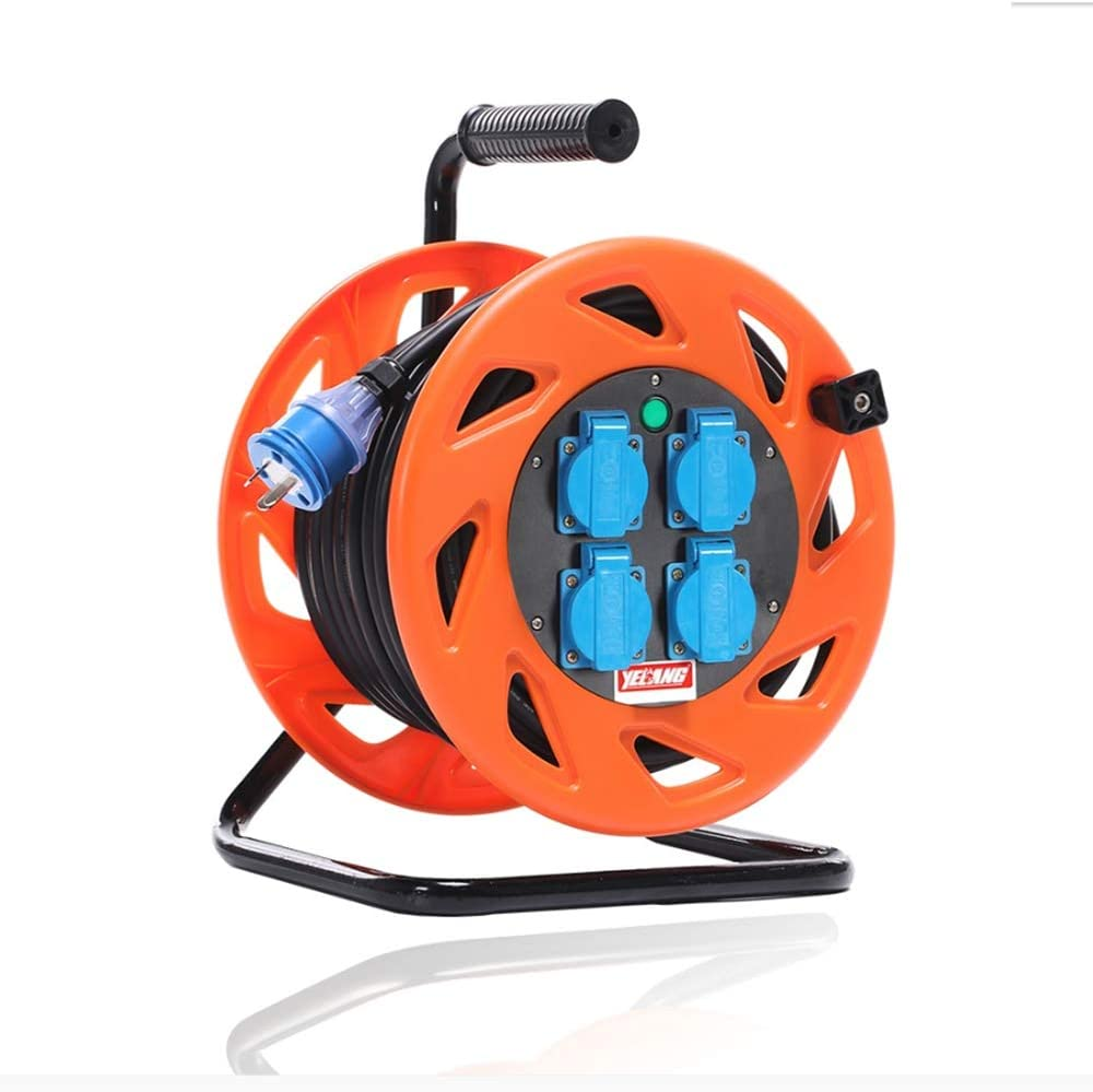 LIFEIYAN Cable Reel Master Plug Four Socket Medium Open Cable Reel Extension Lead With Handle 100M Orange Retractable Extension Cord Reel extension cord holder Size 5mm 100M