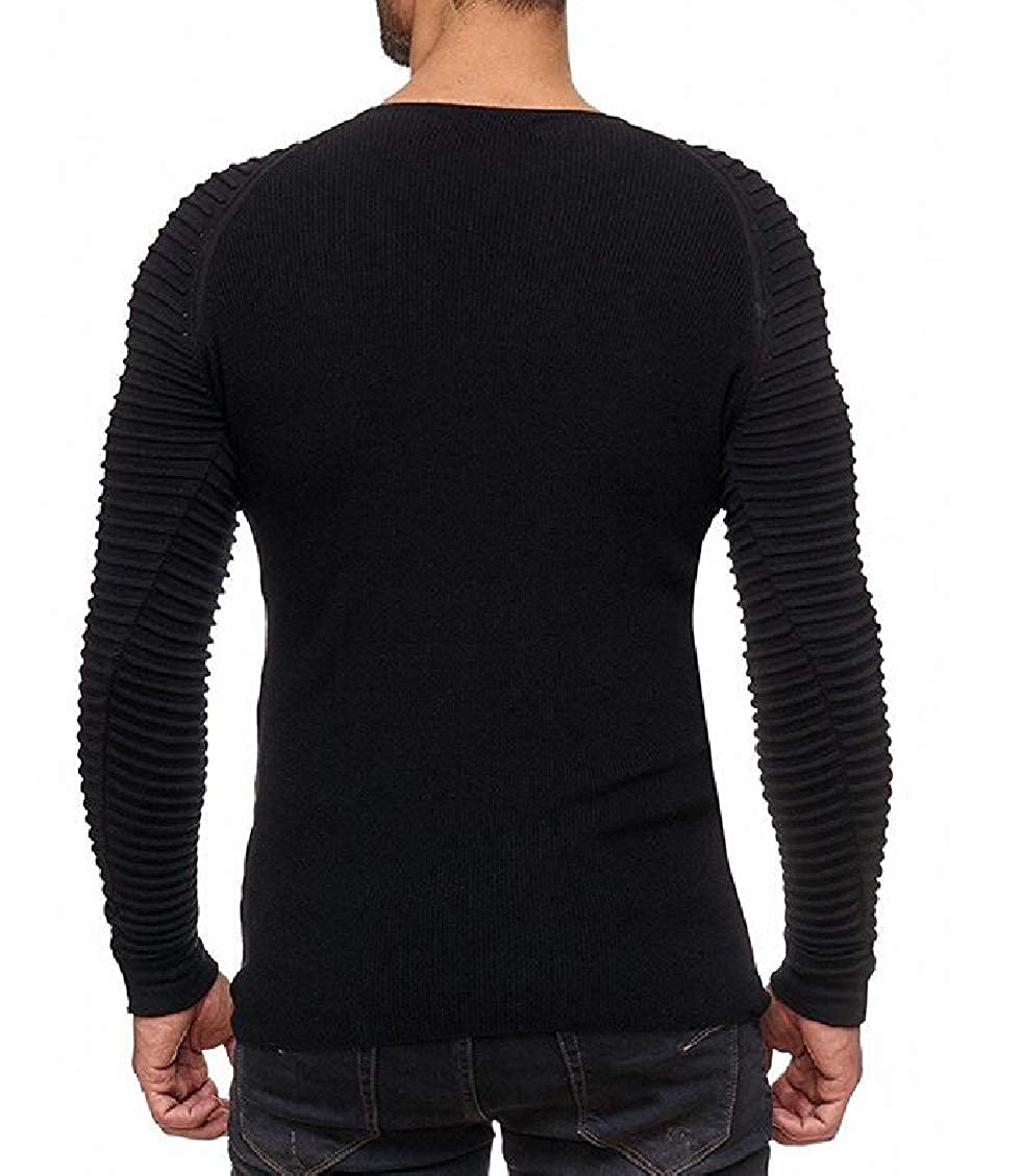 Sweatwater Mens Round Neck Pleated Slim Fit Knits Long Sleeve Pullover Sweaters