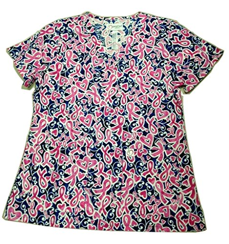 Peaches Sport by Peaches Uniforms Women's 100% Cotton Anna Print V-Neck Scrub Top (Pink Positively - V-neck Peaches Tunic Uniforms