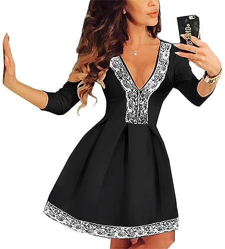 Fancyinn® Women Deep V-neck Lace Patchwork Skater Mini Cocktail Dress