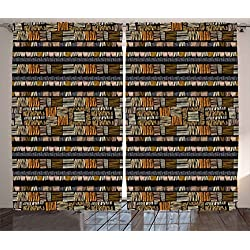 Ambesonne African Curtains, Traditional Hand Drawn African Ethnic Pattern in Grunge Style Striped Design Print, Living Room Bedroom Window Drapes 2 Panel Set, 108 W X 63 L Inches, Multicolor