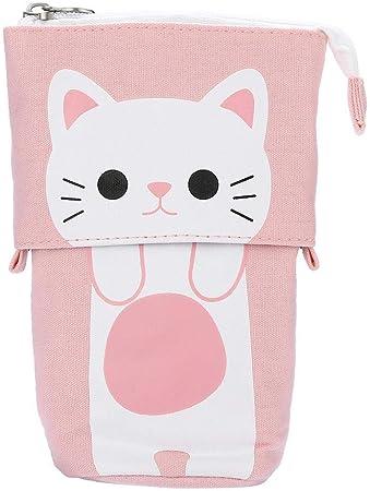Estuche escolar escolar con diseño de gato, estuche telescópico, caja para artículos de papelería, lápiz, estante para piezas pequeñas, rosa gatito: Amazon.es: Hogar