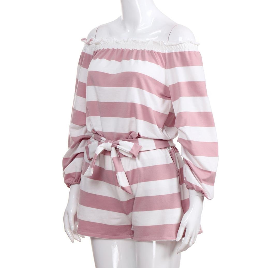Teresamoon Women Off Shoulder Strinped Long Sleeve Casual Pocket Mini Romper Sunjumpsuit: Clothing
