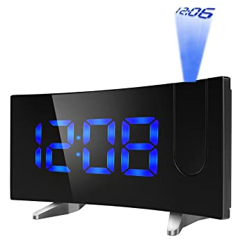 PICTEK Projection Alarm Clock 5quot Large LED Curved Screen Digital