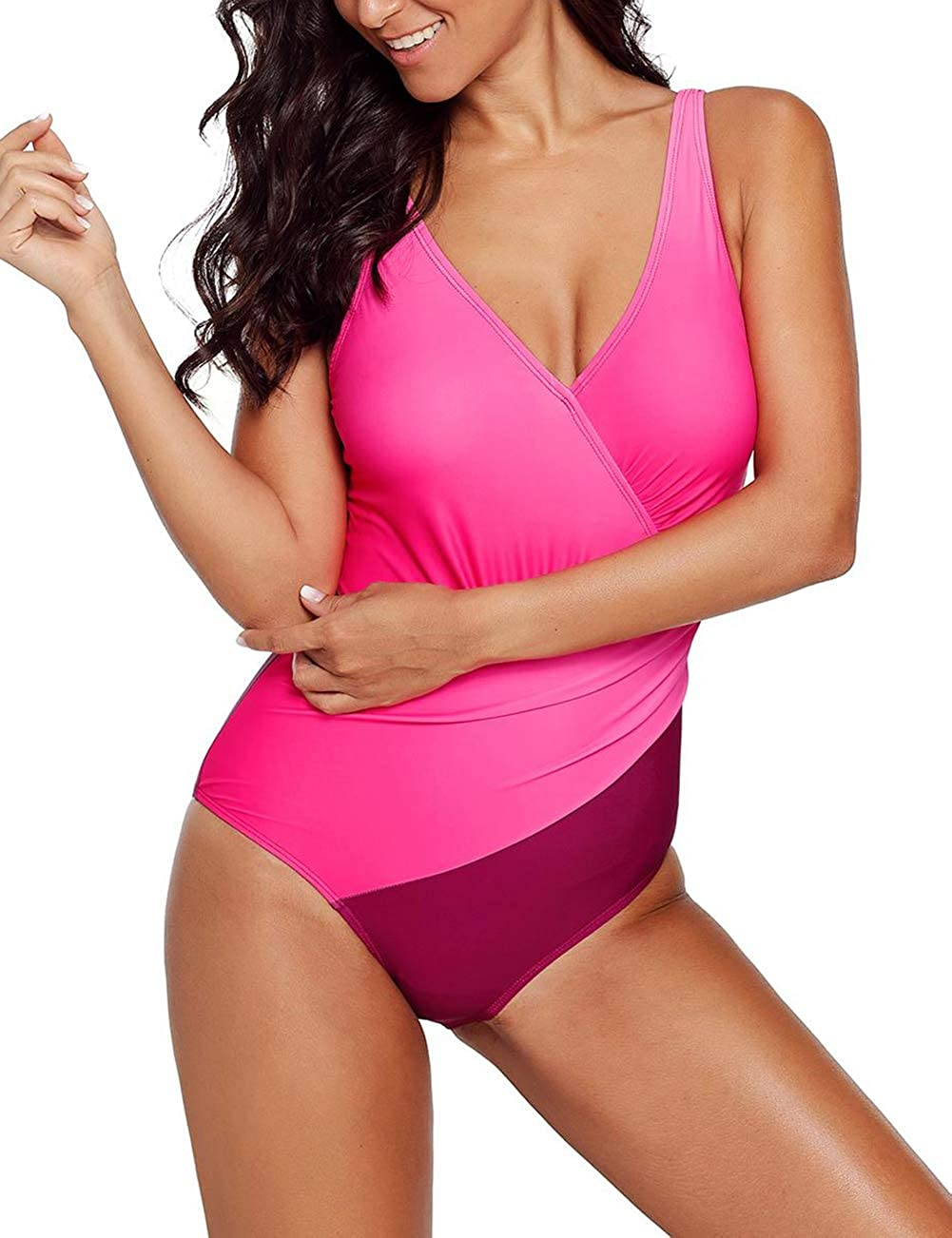 Bsubseach Tummy Control One Piece Swimsuits Women Bathing Suit Ruched Beach Swimwear