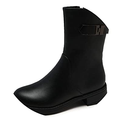 New-Loft Soft Leather Shoes Proof Boots Warm Ankle Boots Woman Riding Boots Square Heels