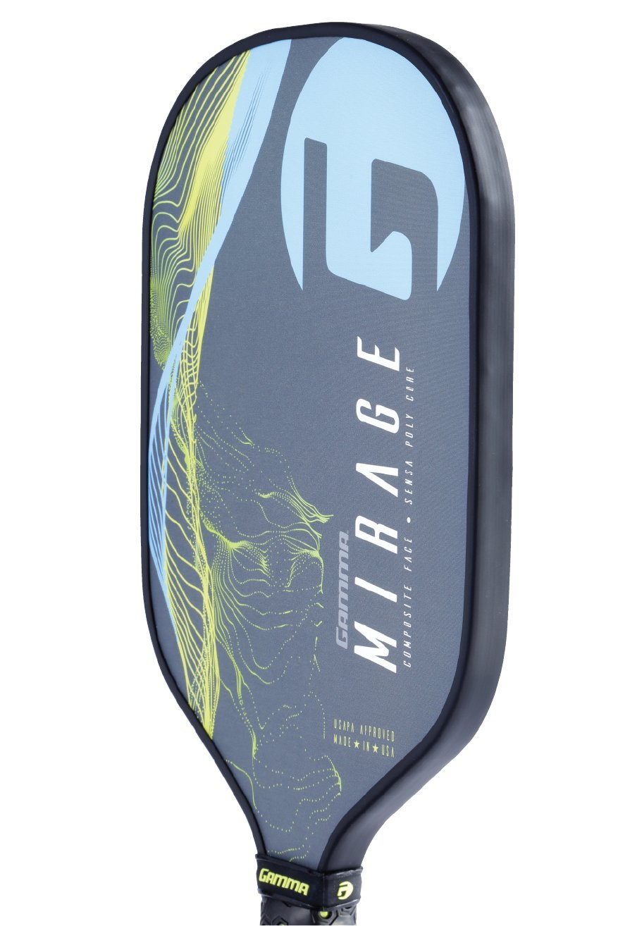 Gamma Mirage Composite Pickleball Paddle: Pickle Ball Paddles for Indoor & Outdoor Play - USAPA Approved Racquet for Adults & Kids - Blue/Yellow by Gamma (Image #4)