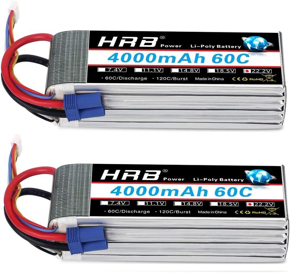 HRB 2pcs 6S 22.2V 4000mAh 60C Lipo batteria con Spina EC5 per RC Quadcopter elicottero Auto camion Barca Hobby
