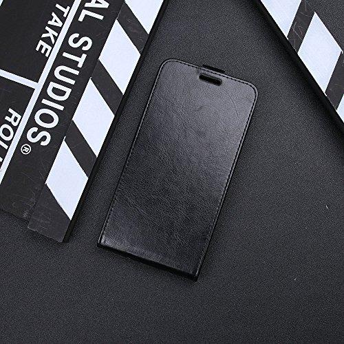 Para Samsung Galaxy J7 (2017) J730 Caso compacto de piel PU, arriba-abajo piel abierta PU Funda de piel con ranura para tarjeta y función de protección completa con cierre magnético Caja a prueba de g Negro