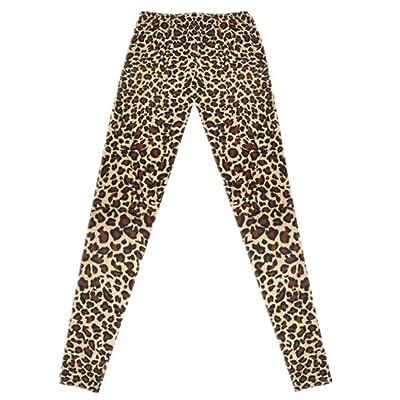 Señoras Medias Pantalones Moda Leopardo Estiramiento Leggings Elástico Ropa Cintura Entrenamiento Fitness Pantalones Pantalones Deportivos (Color : Braun - Braun, Size : One Size): Ropa y accesorios