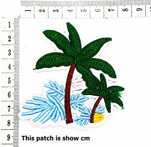 Tropical Palm Tree Beach Scene Coconut Cartoon Chidren Kids Embroidren Iron Patch/Logo Sew On Patch Clothes Bag T-Shirt Jeans Biker Badge Applique