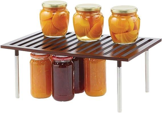 mDesign Organizador de cocina – Práctico sistema de almacenaje de cocina de bambú y metal – Elegante estante de almacenamiento para armarios de cocina, encimeras, etc. – marrón oscuro: Amazon.es: Hogar