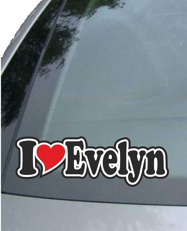 Sticker mit Namen vom Mann Frau Kind INDIGOS UG Aufkleber//Autoaufkleber I Love Heart Auto LKW Truck I Love Evelyn Ich Liebe mit Herz 15 cm