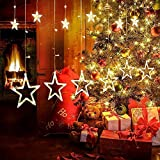 Christmas Decoration Lights Star Curtain String Lights with 12 Stars 138 Bulbs for Indoor and Outdoor Decoration (Warm White)