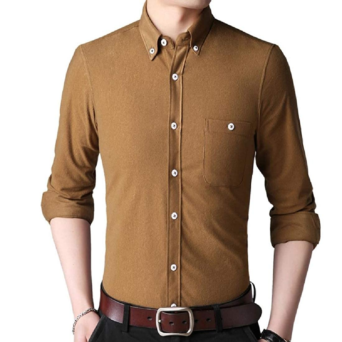 YUNY Mens Corduroy Solid Colored Button-Down-Shirts Plus-Size Shirts Ginger 3XL